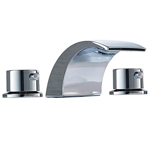 Bathadore Led 8-16 Inch Chrome Widespread Bathroom Faucet 3 Hole Two Handle Waterfall Sink Faucet Basin Mixer Tap Commercial 3 Hole Basin Two Handle