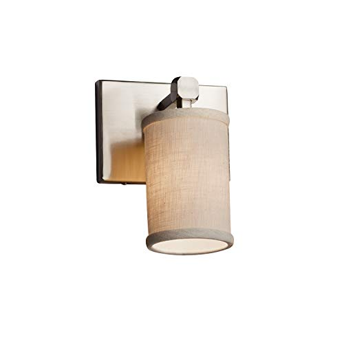 (Justice Design Group Lighting FAB-8421-10-CREM-NCKL Textile Tetra 1-Light Wall Sconce Cylinder with Flat Rim Brushed Nickel Finish and Cream Fabric)