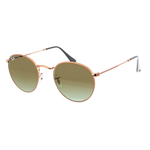 Ray-Ban RB3447 Round Metal Sunglasses, Shiny Medium Bronze/Green Gradient, 53 mm ()