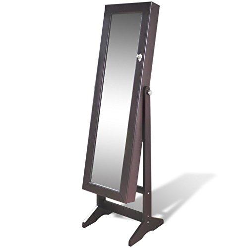 vidaXL Brauner Spiegelschrank mit Schmuckständer LED Licht