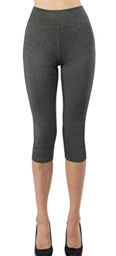- iLoveSIA Women's Tights Capri 3/4 Workout Leggings US Size L Dark Grey