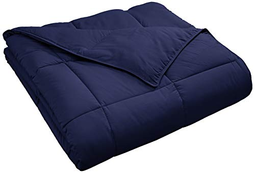 Superior Classic All-Season Down Alternative Comforter with with Baffle Box Construction, King, Navy Blue (Renewed)