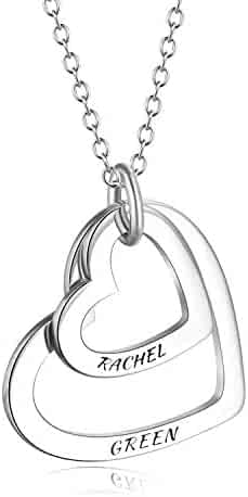 6c6005c64 LONAGO Personalized 2 Names Necklace Custom Double Hearts Sterling Silver  Copper Engraved 18K White Rose Gold