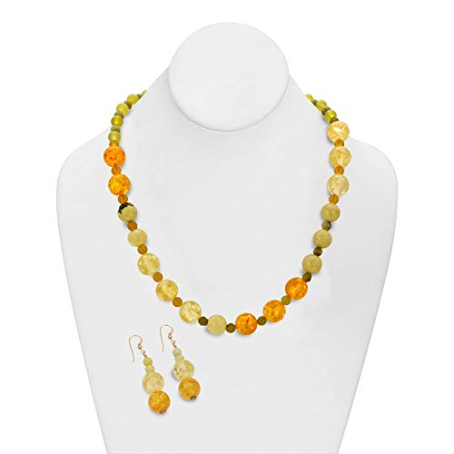 Gemstone Art Jewelry Set. Handmade One of a Kind Amber, Butter Jade, Olive Jade, Peridot and Mixed Gemstones Asymmetrical Necklace and Dangle Earrings