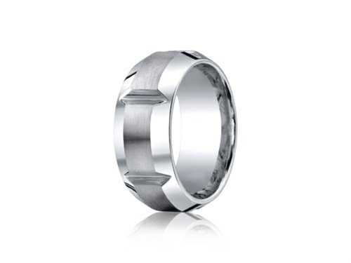 Cobalt Chrome 10mm Comfort-fit Satin-finished Polished Grooves and Beveled Edge Ring Size 12.5