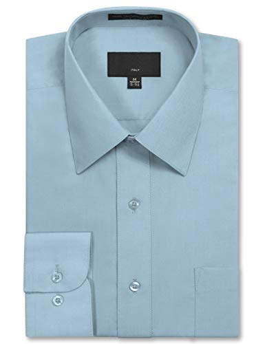 JD Apparel Men's Long Sleeve Regular Fit Solid Dress Shirt 18-18.5 N 36-37 S -