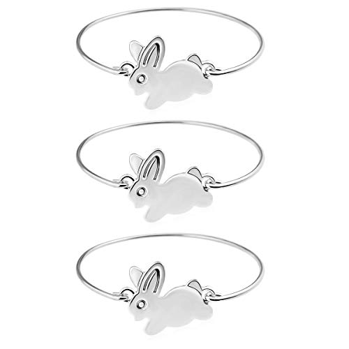 (RareLove 3 Pieces Silver Easter Bunny Costume Gifts Rabbit Bangle Bracelets Alloy for Toddlers)