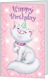 Birthday Girl Child Happy Cat Fun Niece Granddaughter Daughter Her (Birchcraft Card)