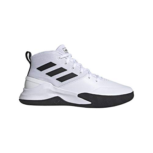 adidas Men's OwnTheGame Basketball Shoe, White/Black/White, 10 M US