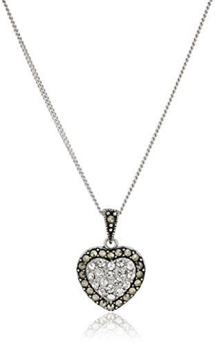 Chain Marcasite Jewelry - Sterling Silver Marcasite and Crystal Heart with Chain Pendant Necklace, 18