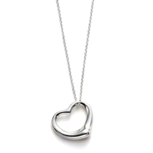 Sterling Silver Floating Heart Pendant Necklace w/Box Chain 16 Inch
