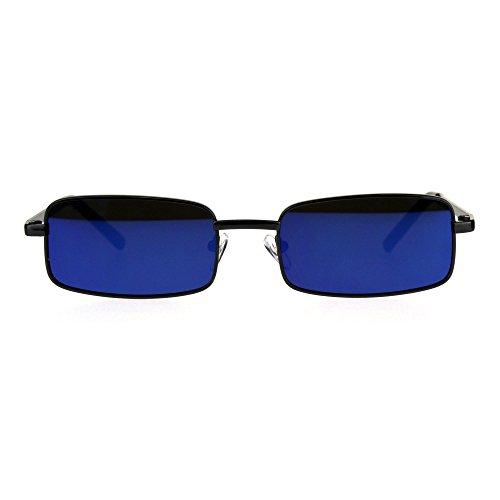 Mens Retro Vintage Narrow Rectangular OG Mirror Lens Sunglasses Gunmetal Blue (Narrow Sunglasses For Men)