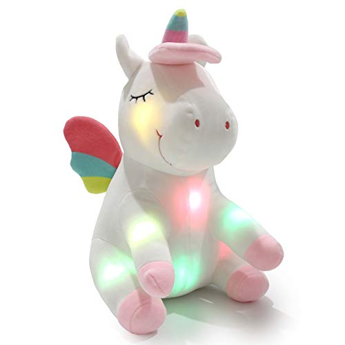 Athoinsu 12 inch Pink Luminous Blinking Plush Stuffed Fluffy Unicorn Animal Toy with LED Night Light Ideal for Birthday Present Festival Gift for Children or As Easter Valentine's Gift for Lovers ()