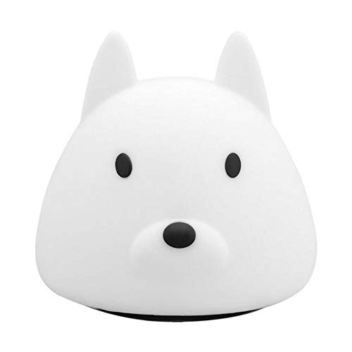 Portable Silicone Puppy Multicolor Night Light USB Chargeable Children Lamp with Warm White & 7-Color Breathing Dual Light Modes Sensitive Tap ()