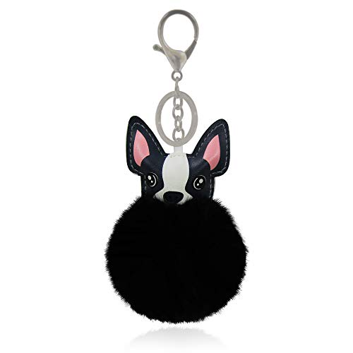 (Unisex Fluffy Fuzzy Animal French Bulldog Boston Terrier Pom Pom Keychain and/or Bag Charm (Black