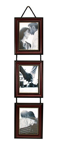 kieragrace Vertical Lucy Collage Picture Frames on Hanging Ribbon (Set of 3), 5  by  7 Inch, Dark Brown with Gold Beading (5x7 Picture Collage)