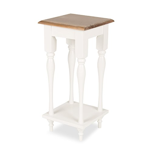 Kate and Laurel Sophia Rustic Wood Top Plant Stand End Table with Shelf, White ()