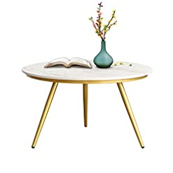 Living Room EKR Marble Coffee Table Gold Modern Accent Table Round Nesting Table Contemporary Desk Living Room Home Decor (Ø 27.56… modern coffee tables