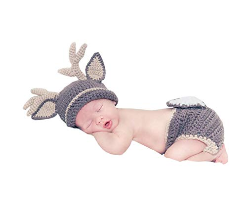 Pinbo Baby Photography Prop Crochet Knitted Deer Beanie Hat Diaper Costume]()