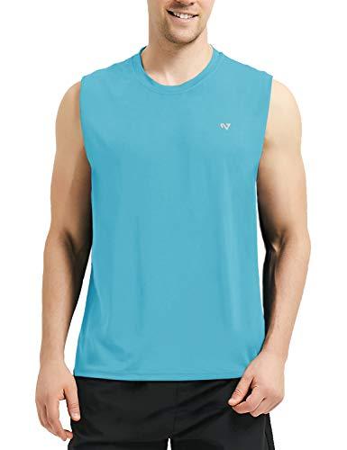(Roadbox Men's Performance Sleeveless Workout Muscle Bodybuilding Tank Tops Shirts Bright Blue )