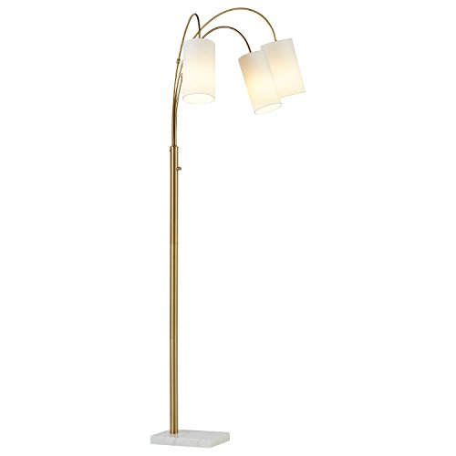Brass Floor Lamp Amazon: Rivet 3-Light Marble And Brass Arc Floor Lamp, With Bulbs