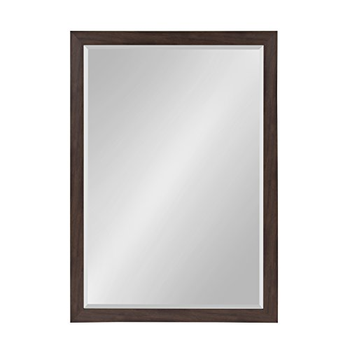 (DesignOvation Beatrice Framed Wall Mirror 27x39 Walnut Brown )