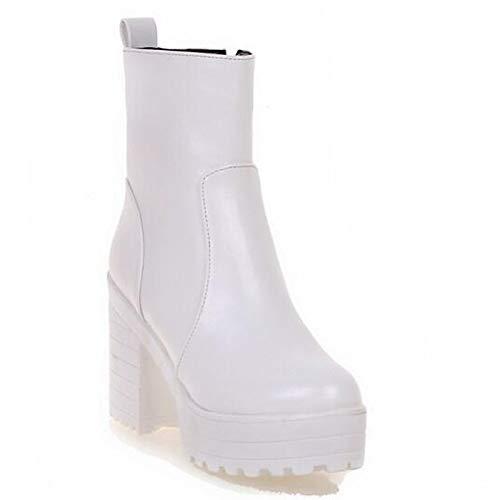IWxez Damenmode Stiefel PU (Polyurethan) Winterstiefel Chunky Heel Closed Toe Stiefelies Stiefeletten Weiß Schwarz