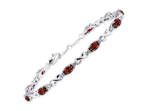 (Stunning Garnet & Diamond XOXO Hugs & Kisses Tennis Bracelet Set in Sterling Silver - Adjustable to fit 7