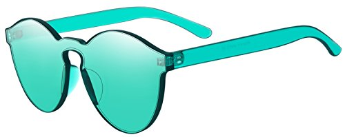 (One Piece Rimless Sunglasses Transparent Candy Color Tinted)