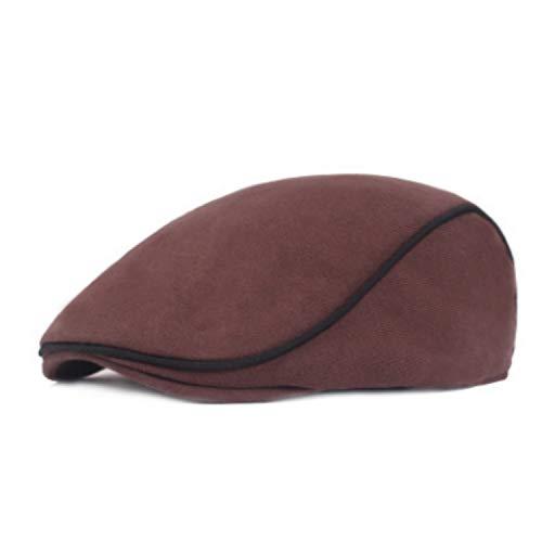 UKURO Cotton Striped Beret Hat Women Men Spring Winter Flat Cap Newsboy Visor Solid Biona Ivy,Coffee,Adult Size