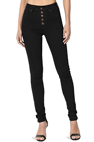 TheMogan Women's Button Up Mid High Rise Stretch Ankle Skinny Jeans Black 3