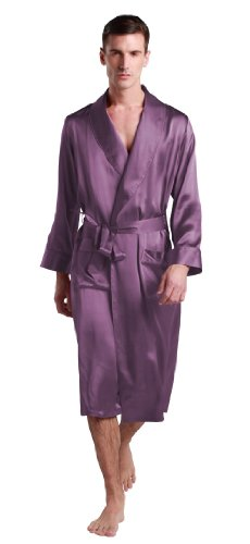 Lilysilk Men Bathrobe Long Silk Robe Lapel Collar 22 Momme 100% Pure Silk Violet Oeko- XXXL/48 by LilySilk