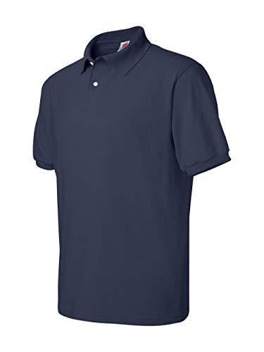 Hanes Men's Cotton-Blend EcoSmart Jersey Polo, Navy, ()