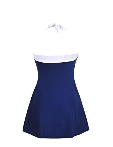 iBaste Swimwear,Falda Pantalones Diseñados Trajes de Baño One Piece con Push Up Azul