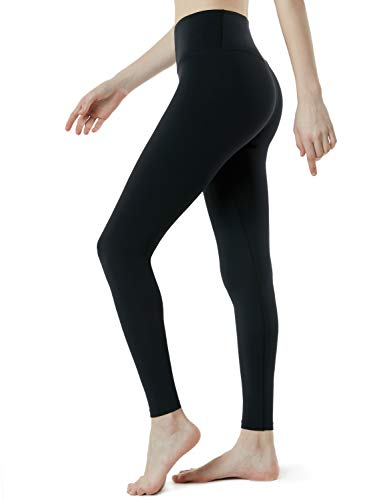TSLA Yoga Pants Mid-Waist/High-Waist Tummy Control w Side/Hidden Pocket Series, Yogabasic Aerisoft(fyp72) - Black, X-Large (Size 12-14_Hip43-45 Inch)