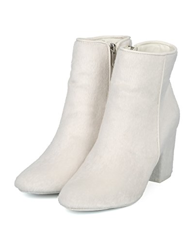 Alrisco Women Round Toe Block Heel Bootie - Versatile Dressy Trendy Party Holiday Chunky Heel Ankle Boot - HE95 by Mackin J Collection White Faux Fur d3qsKq8jmX