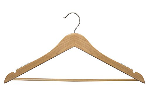 NAHANCO Personalized Wooden Hangers -17'' Monogramed Custom Hangers -20017WBC Natural Top Suit Wood Hanger – 100 piece Pack by NAHANCO