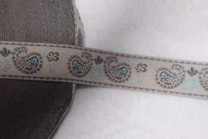 (1 Yard White Brown Light Blue Paisley Print Jacquard Sewing Ribbon Trim 1