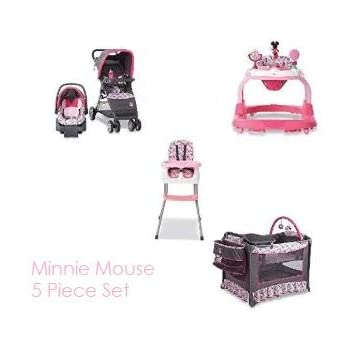 5 Piece Mouse Nursery Set Stroller Car Seat Travel System, Play Yard Crib, Walker, and High Chair.