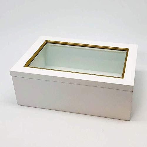 DECORPRO - Caja de Madera con Tapa de Cristal, Color Blanco y Dorado, Groß 20,5 x 14 x 8 cm: Amazon.es: Hogar