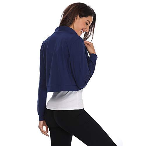 Maniche Donne Apertura a in Piebo Blu a Lunghe Lunghe Maniche Top Frontale in con Cotone Cotone qwOdx874nd