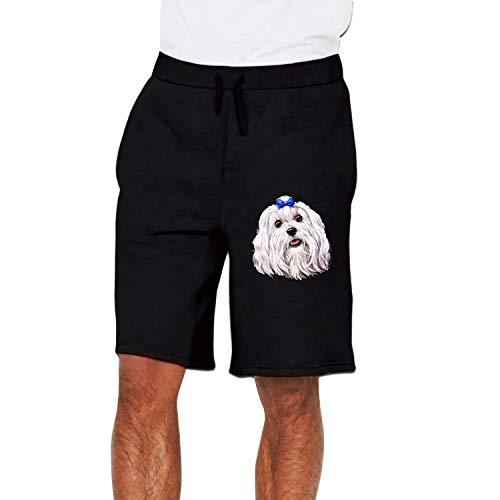farg Men's Gym Pants Jogger Cute Maltese Workout Short Sweatpant Black