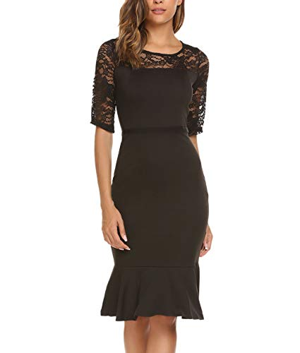 ACEVOG Women's Retro Floral Lace 3/4 Sleeve Cocktail Mermaid Bodycon Dresses(Small,Black)