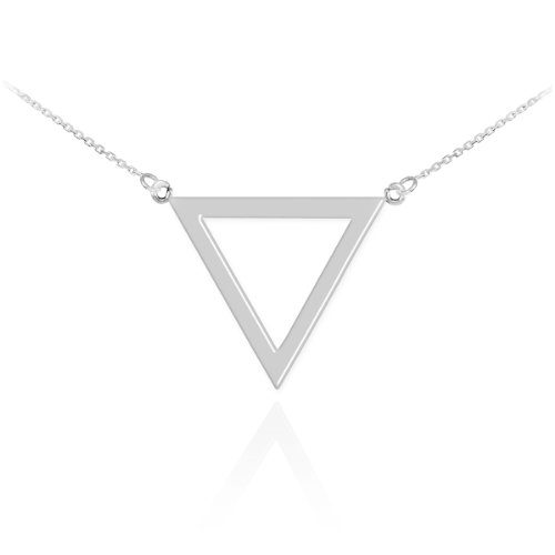 High Polish 925 Sterling Silver Geometric Pendant Inverted Triangle Necklace, 16