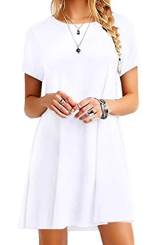 - BOFETA Women's Tops T-Shirt Loose Basic Simple Casual Short Sleeve Mini Dress, White, M