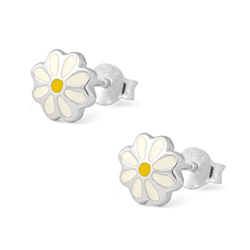 (Girl's Sterling Silver White And Yellow Enameled Daisy Stud Earrings )