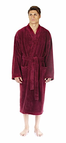 Arus Men's Kimono Fleece Bathrobe Turkish Soft Plush Robe, Wine, XXL