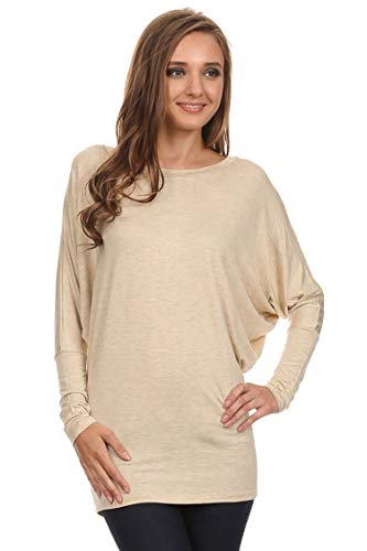 (Casual Solid Dolman Sleeve Long Sleeve Knit Loose Fit Tunic top/Made in USA Cream 3XL)