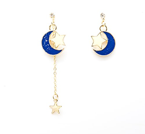 Sisfrog Moon and Star Drop Dangle Asymmetric Earrings for Women and Girls (Blue)