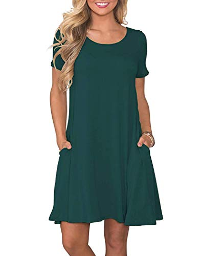 - WNEEDU Women's Plus Size Summer Dresses Casual T Shirt Swing Dresses with Pockets Dark Green 2XL